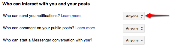 Change Google+ Settings
