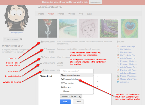 Edit the privacy settings of my Google+ Profile