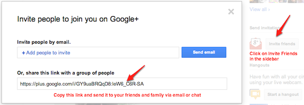 Invite friends and family to Google+